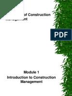 Module 1 Principles of Construction Management