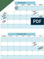 Modelo de Calendário Anual Igreja 2019 1