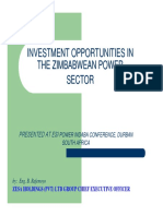 INVESTMENT OPPORTUNITIES IN THE ZIMBABWEAN POWER SECTOR