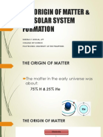 Lecture 2. Origin of Matter & Solar System Formation