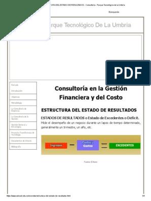 Estructura Del Estado De Resultados Consultoría Parque