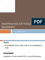 Maintenance of Tools and Equipment Grade 9