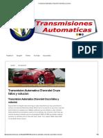 Transmision Automatica Chevrolet Cruze Fallos y Solucion