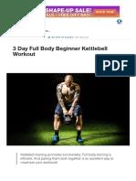 3 Day Full Body Beginner Kettlebell Workout