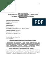 INFORME PSICOLOGICO DEL TEST DE CUMANIN Y JORDAN Y MASSEY