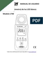 Medidor (Luxómetro) de Luz LED BlancaModelo LT40