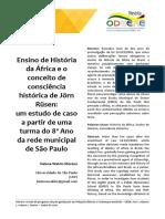 Ensino de História da África e Consciência Histórica em J. Rüsen