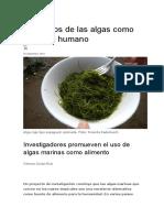 Beneficios de Las Algas Como Alimento Humano