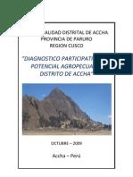 Diagnostico Agropecuario Distrito de Accha 2009