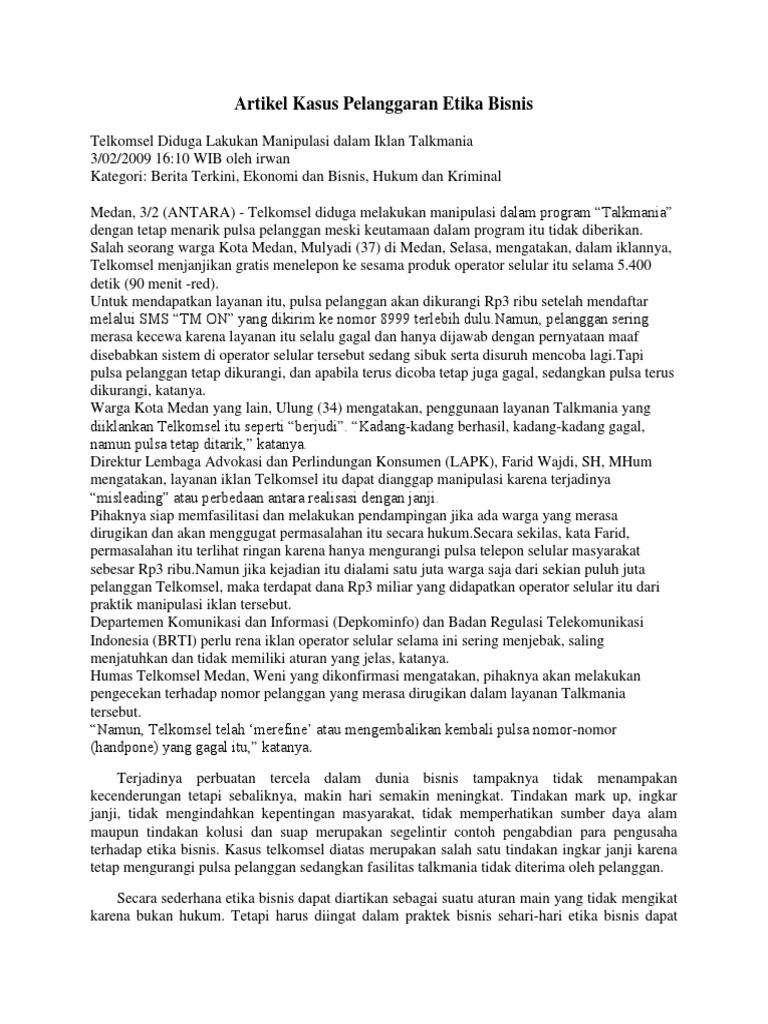 Artikel Kasus Pelanggaran Etika Bisnis