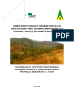 Informe de Insumos Territoriales para la Prevención, Presupresión Y Supresión de Incendios Forestales en la Precordillera de la Comuna de La Florida