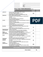 Theatrical Play Performance Rubric