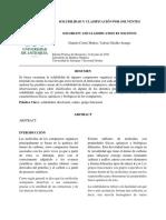Solubilidad y Clasificación Por Solventes 1 Informe