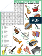 Musical Instruments Vocabulary Esl Word Search Puzzle Worksheets for Kids