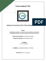 Informe de Práctica #8 de Microbiología General Determinación de La Abundancia de Mohos, Bacterias y Hongos Del Suelo
