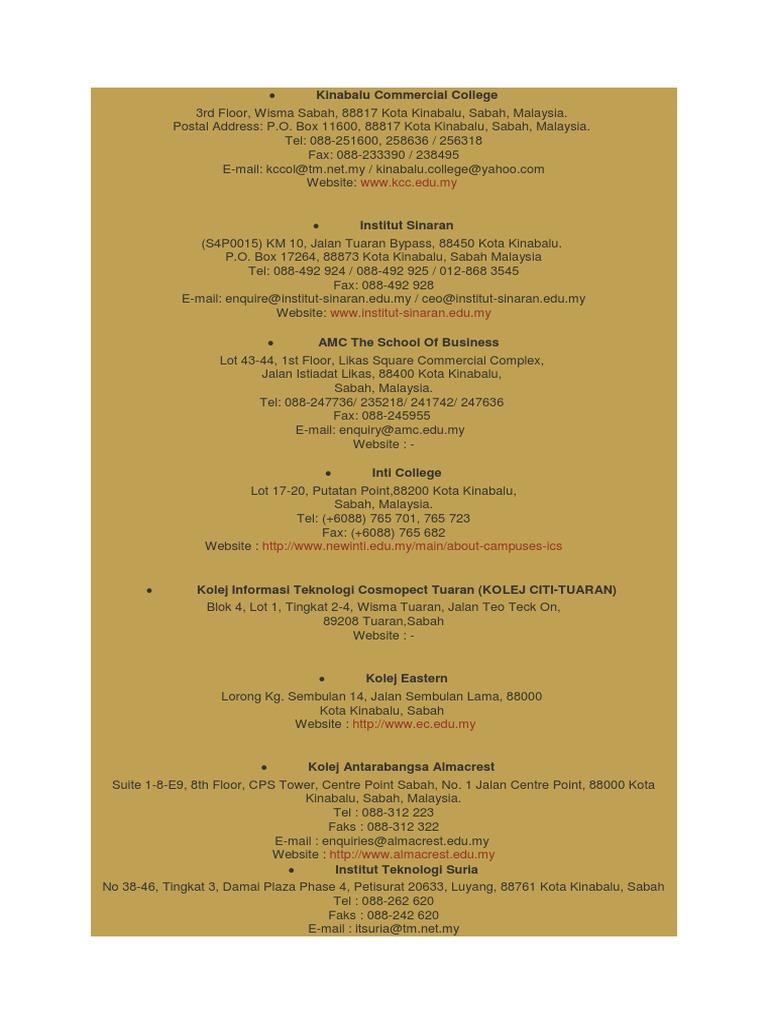 Senarai Kolej Di Sabah