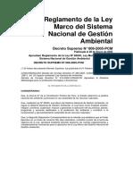 Reglamento de La Ley Marco Del Sistema Nacional de Gestión Ambiental