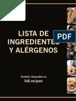 Lista de ingredientes y alergenos