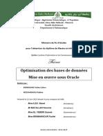Optimisation Des Bases de Donnees Mise en Oeuvre Sous Oracle