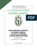 Competencias del del Ingenierio Ambiental formado en la Facultad de Ciencias Exactas y Tecnologia de la Universidad Autónoma Gabriel Rene Moreno del departamento de Santa Cruz - Bolivia