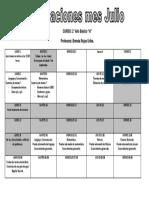 Calendario Evaluaciones JULIO