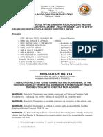 SAMPLE Resolution PRACTICUM in EDUCATIONAL MANAGEMENT