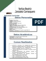 Resumen Curricular Yaritza Gonzalez