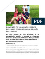 Fomento de Las Habilidades Del Niño Con Autismo a Través Del Juego