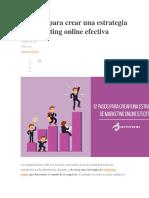 12 Pasos Para Crear Una Estrategia de Marketing Online Efectiva