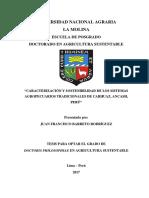 Barreto j.f. 2017. Caracterización y Sostenibilidad de Los Sistemas Agropecuarios Tradicionales de Carhuaz, Ancash, Perú