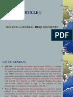 ARTICLE I (Weld. Gen. Requirement)