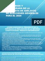 CDG - Escenarios y cronograma de la propuesta de adelanto de elecciones en el Perú  (Julio 2019)