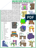 Furniture Vocabulary Esl Word Search Puzzle Worksheets for Kids
