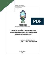 """Metodología de Enseñanza – Aprendizaje Del Idioma Aymara Como Segunda Lengua a Los Servidores Públicos Municipales de La Ciudad de La Paz"""""""