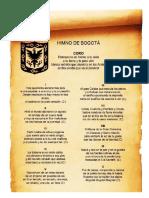 comprensión lectora grado cuarto-himno de Bogotá