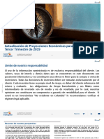 Actualización de Proyecciones Económicas Para Colombia - 3T19