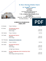 8. Schedule of Divine Services - August, 2019
