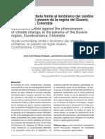 Acción comunitaria frente al fenómeno del cambio climático, en el páramo de la región del Guavio,