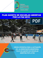Orden Operativa Agosto de Escuelas Abiertas 2019