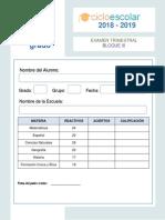 Examen Trimestral Quinto Grado Bloque III 2018-2019