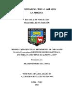 RESPUESTA PRODUCTIVA Y RENDIMIENTO DE CARCASA DE LLAMAS (Lama glama) DIENTES DE LECHE SOMETIDAS A ENGORDE, CUATRO TIPOS DE ALIMENTACIÓN