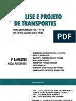 Aula 01 - Plano de Ensino e Introdução a Engenharia de Transportes