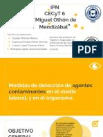 MEDIDAS DE DETECCIÓN DE AGENTES CONTAMINANTES EN EL MEDIO LABORAL, Y EN EL ORGANISMO..pptx