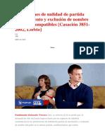 Pretensiones de Nulidad de Partida de Nacimiento y Exclusión de Nombre No Son Incompatibles