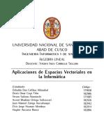 Aplicación de Espacios Vectoriales en la Computación