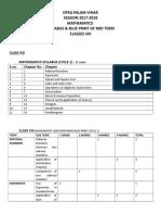 Mid Term Syllabus & Blue Print VIII
