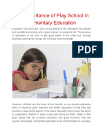The Importance of Play School in Elementary Education
