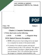 Class VII- Lesson 1