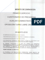 Auxiliar Administrativo Oposicion Ayuntamiento Zaragoza 29-05-2010