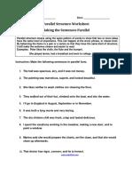 Making the Sentences Parallel Worksheet